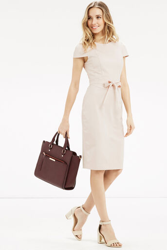 Oasis, Bonnie Workwear Dress Mid Neutral 2