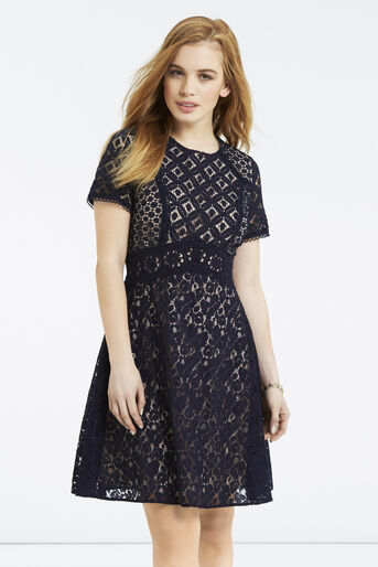 Oasis, Petite Patched Lace Skater Navy 1