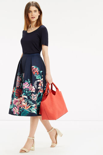 Oasis, Tropical Jacquard Midi Skirt Multi Blue 2