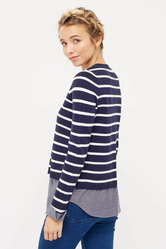 Oasis, stripe shirt tails top Multi Blue 3