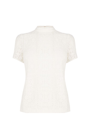 Oasis, Lace Pom Pom Top Off White 0