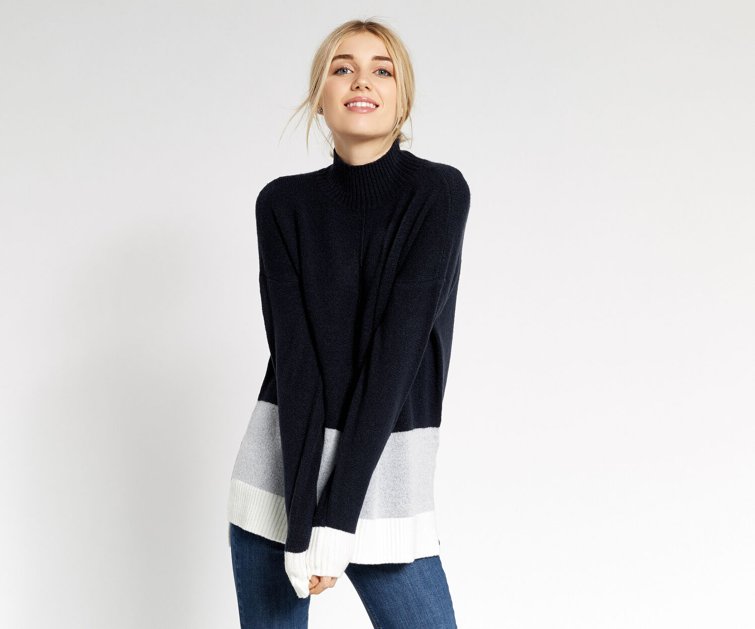 Oasis, Colourblock funnel neck Navy 1