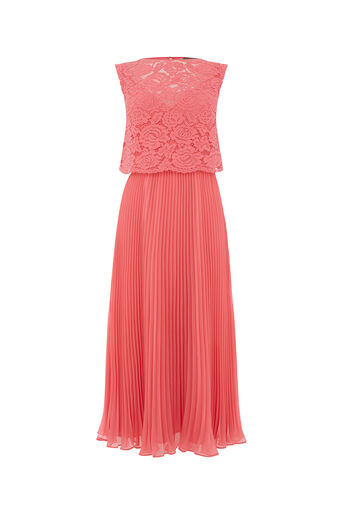 Oasis, LACE PLEAT MIDI DRESS Mid Pink 0