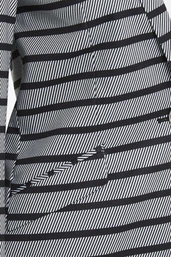 Oasis, Petite Stripe Ponte Jacket Black and White 4