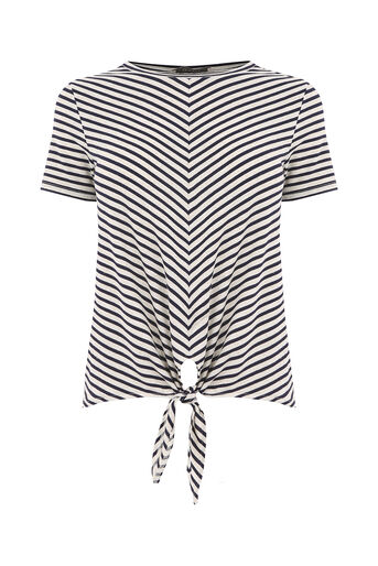 Oasis, stripe knot front tee Black and White 0