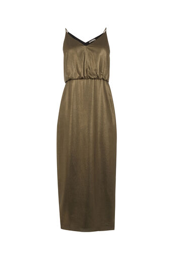 Oasis, METALLIC MIDI DRESS Gold 0