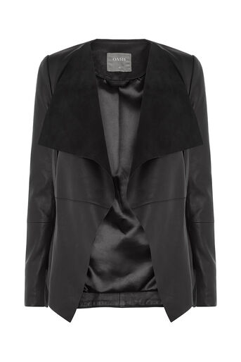 Oasis, LEATHER WATERFALL JACKET Black 0