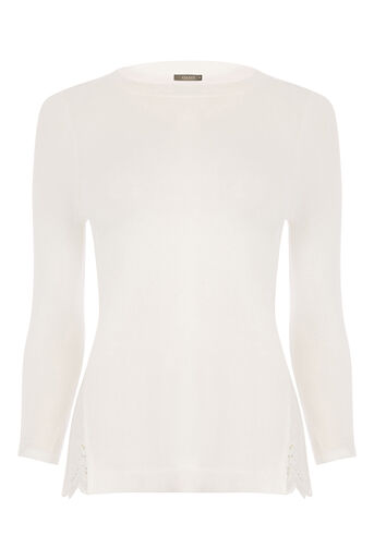 Oasis, Woven split side broidere top Off White 0