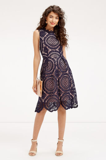 Oasis, LACE DRESS Navy 2