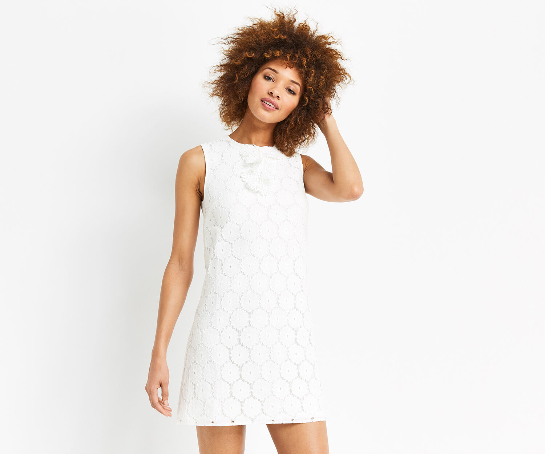 Oasis, RUFFLE LACE FRONT DRESS White 1