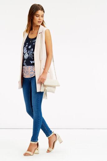 Oasis, Placement Floral Vest Multi Blue 2