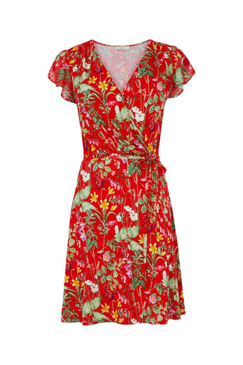 Oasis, SMALL PARADISE RUFFLE DRESS Mid Red 0