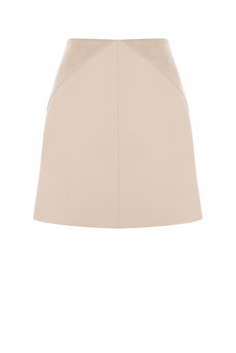 Oasis, PATCHED FAUX LEATHER SKIRT Pale Pink 0