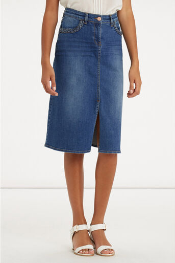 Oasis, Plaited Midi Skirt Denim 1
