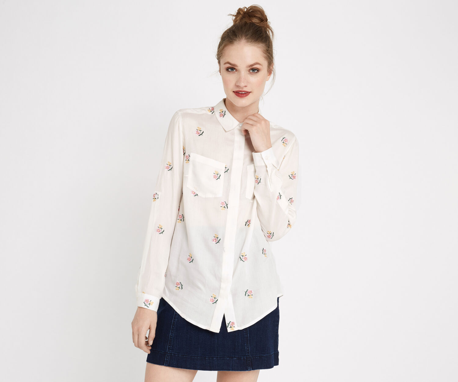 Oasis, DITSY EMBROIDERED SHIRT Multi Natural 1