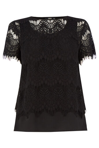 Oasis, Lace Layer T-Shirt Black 0