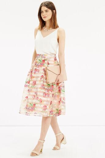 Oasis, Floral Organza Midi Skirt Multi Natural 2