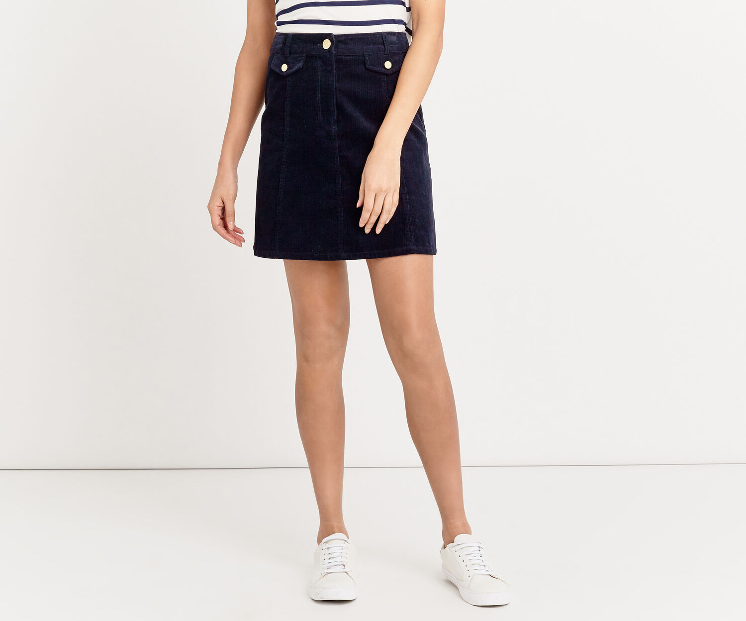 Oasis, CORD POCKET DETAIL MINI SKIRT Navy 1