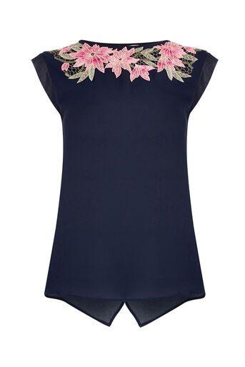 Oasis, FLORAL LACE TRIM TEE Navy 0