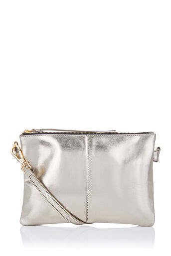 Oasis, LEATHER DOLLY CROSSBODY Metallic Pewter 0
