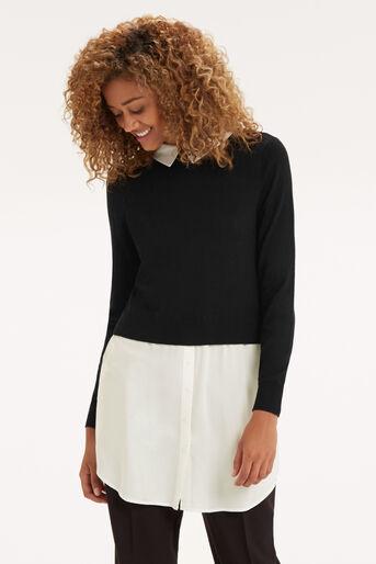 Oasis, Mono Shirt Tails Tunic Black and White 1