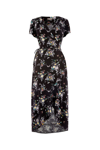 Oasis, MARIE MIDI TEA DRESS Multi Black 0