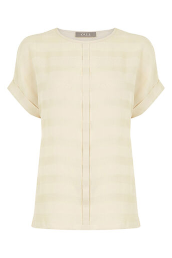 Oasis, Stripe Sheer Roll Sleeve T-Shi Stone 0