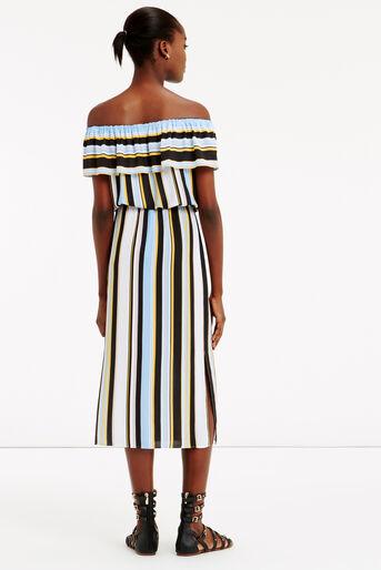 Oasis, Stripe Bardot Dress Multi 3