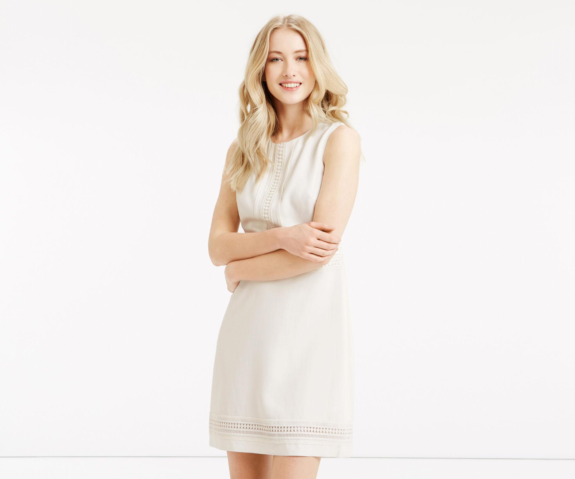 Oasis, Lace Trim Dress White 1
