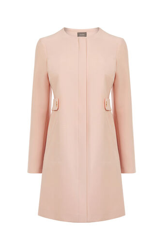 Oasis, COLLARLESS COAT Pale Pink 0