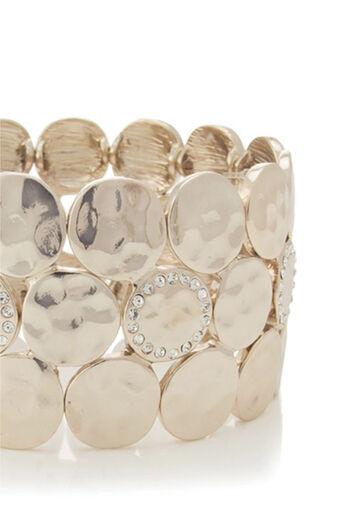 Oasis, Pave Disc Stretch Bracelet Gold 2