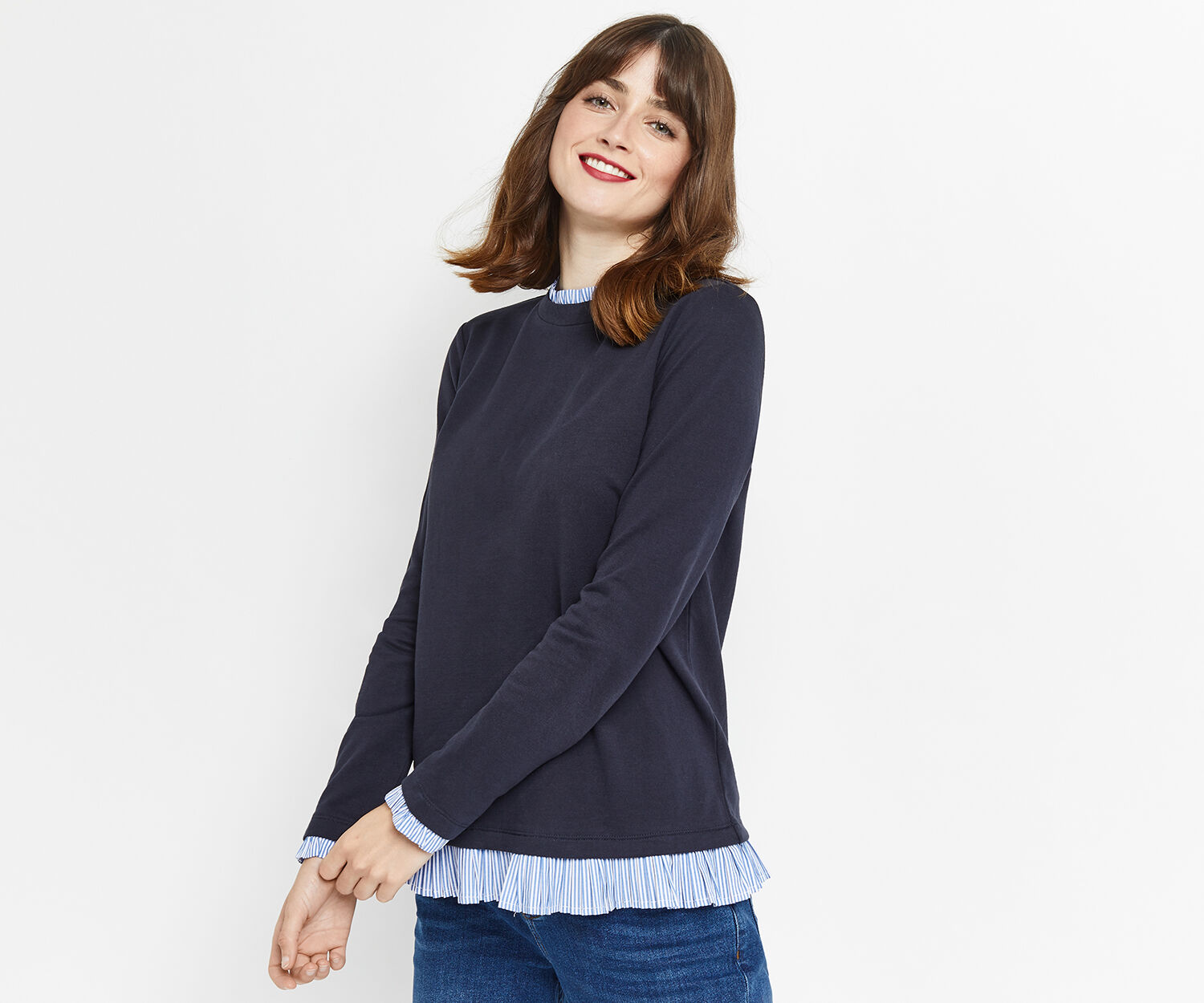 Oasis, STRIPE PIE CRUST SWEAT Navy 1
