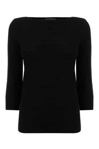 Oasis, Slash neck textured knit Black 0