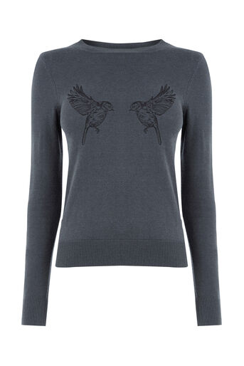 Oasis, Forest embroidered bird jumper Dark Grey 0