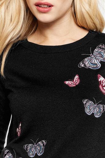 Oasis, Forest Embroidered Jumper Black 4