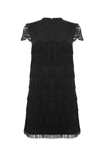 Oasis, FRINGE AND LACE SHIFT DRESS Black 0
