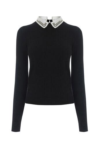 Oasis, Embellished collar knit Black 0