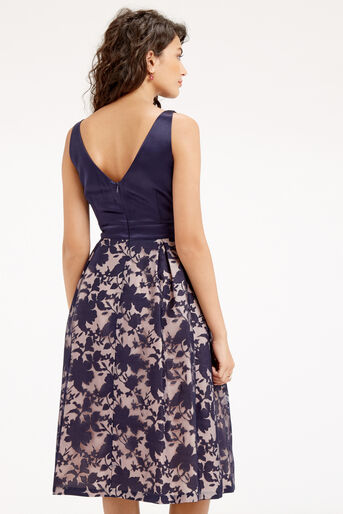 Oasis, ORGANZA MIDI DRESS Navy 3