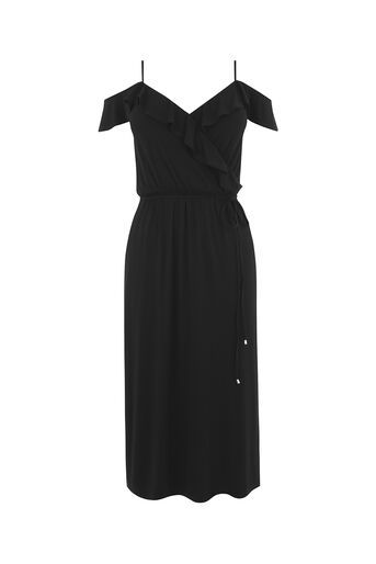 Oasis, COLD SHOULDER MIDI DRESS Black 0