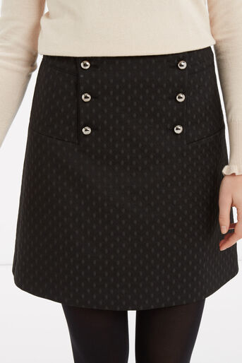 Oasis, 60s Button A-Line Skirt Black 4