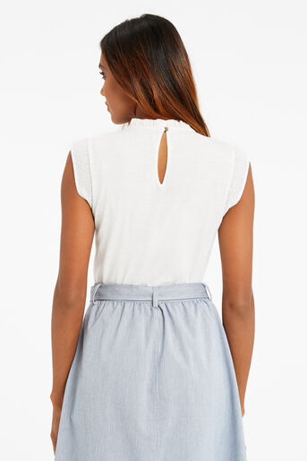 Oasis, PRETTY PINTUCK TOP Off White 3