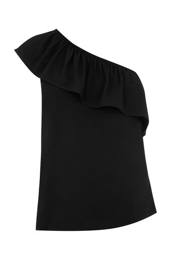 Oasis, ONE SHOULDER VISCOSE TOP Black 0