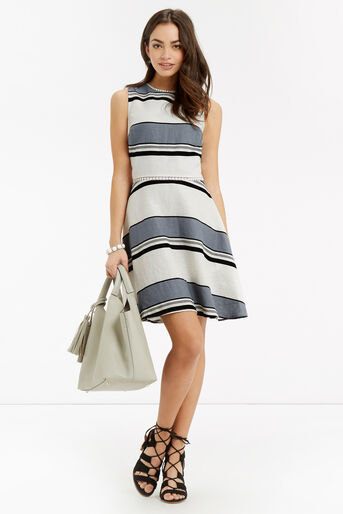 Oasis, Stripe Linen Skater Dress Multi 2