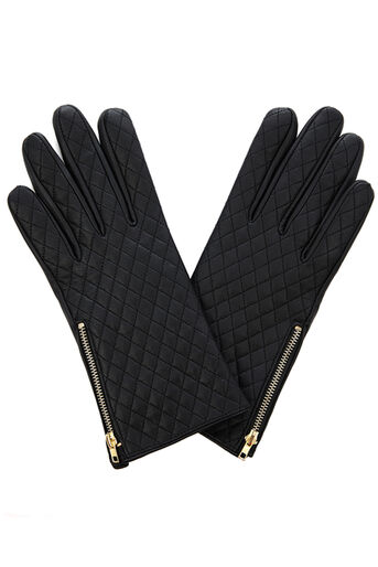 Oasis, LEATHER QUILTED GLOVE Black 0
