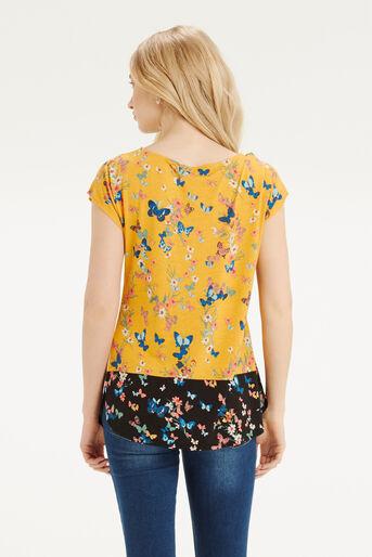 Oasis, Butterfly Printed T-Shirt Ochre 3