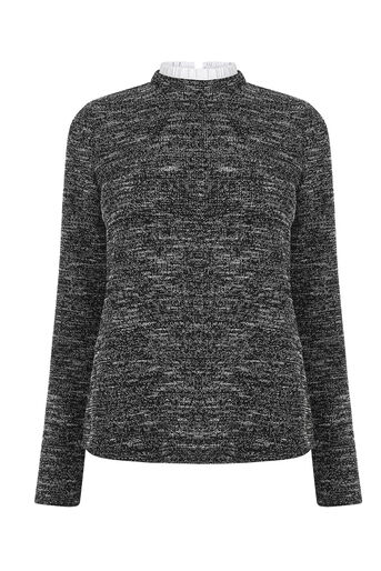 Oasis, TWEED RUFFLE SWEATER Black and White 0