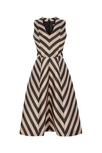 Oasis, Stripe Dress - Longer Length Multi Black 0