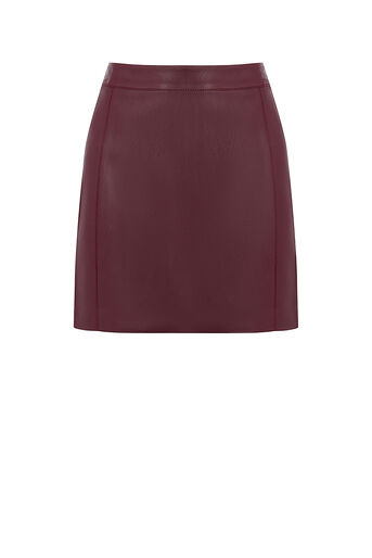 Oasis, FAUX LEATHER SEAMED MINI SKIRT Burgundy 0