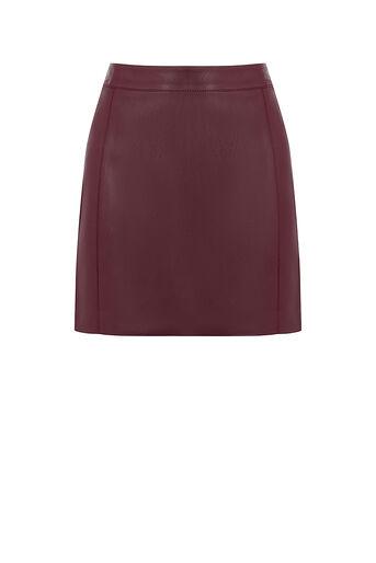 Oasis, Mini-jupe en simili cuir avec coutures Bordeaux 0