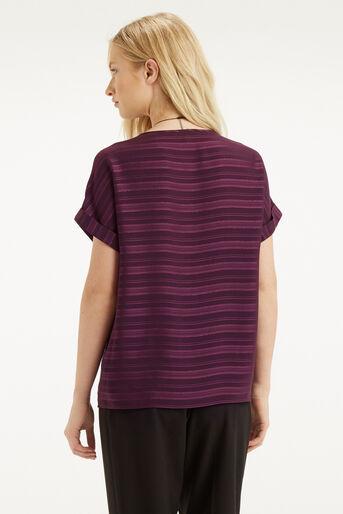 Oasis, Self Stripe Roll Sleeve T-Shir Mid Purple 3